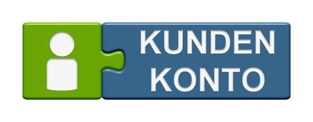 piezas de rompecabezas: Puzzle Bot�n de dos piezas de un rompecabezas con el s�mbolo que muestra la cuenta de usuario en idioma alem�n