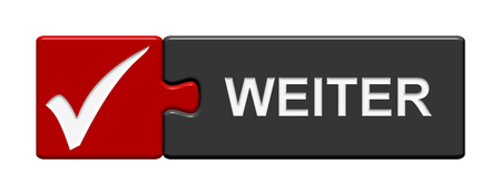continuation: Puzzle Button of two puzzle pieces with symbol showing next in german language Stock Photo