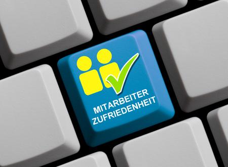 employee satisfaction: Employee satisfaction online - symbols on computer keyboard
