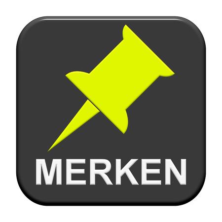 recordar: Botón aislado moderna con el símbolo que muestra recuerda en idioma alemán