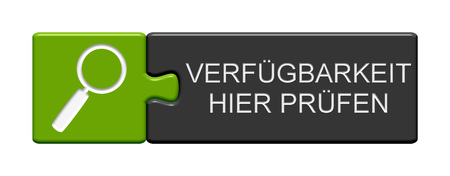 Puzzle Button of two puzzle pieces with symbol showing check availability here in german language Stock Photo
