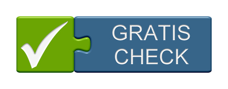 health check: Puzzle Button of two puzzle pieces with symbol showing free check in german language