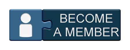 become: Puzzle Button of two puzzle pieces with symbol showing become a member