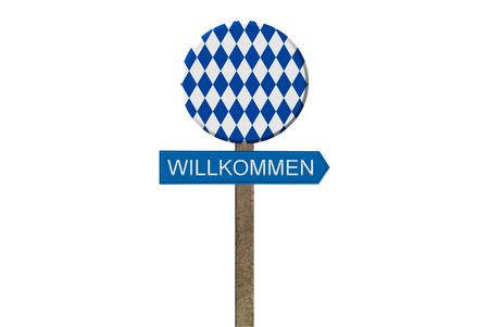 beer garden: Isolated wooden bavarian beer garden sign welcome blue white