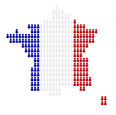 national colors: Map of France made of icons in national colors Stock Photo
