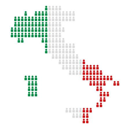 national colors: Map of Italy made of icons in national colors Stock Photo