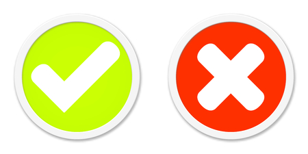 disagree: Two round Buttons Red Green agree or disagree Stock Photo