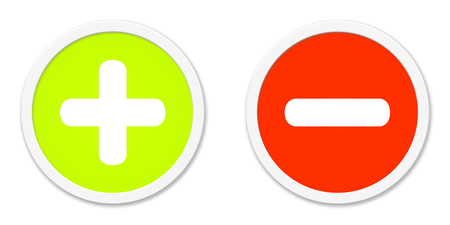 green plus: Two isolated Buttons red green plus and minus Stock Photo