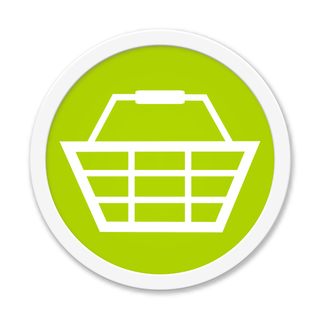 webshop: Modern isolated green Button with symbol showing basket