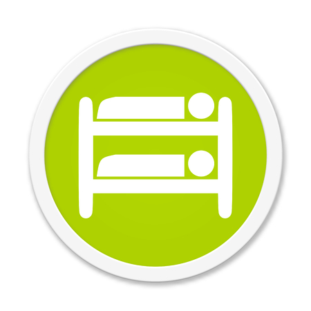 bunk bed: Modern isolated green Button with symbol showing loft bed