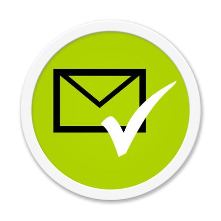 sent: Modern isolated green Button with symbol showing envelope