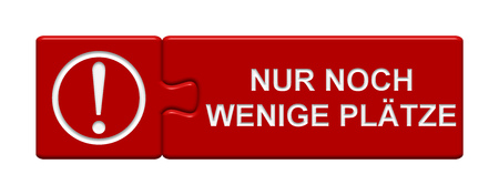 participation: Puzzle Button of two puzzle pieces with symbol showing last tickets in german language Stock Photo