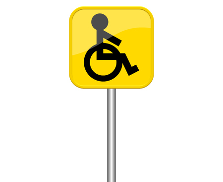 parking facilities: Isolated yellow sign with symbol showing wheelchair Stock Photo
