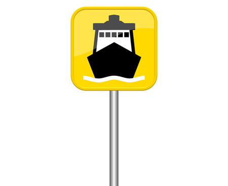 freighter: Isolated yellow sign with symbol showing ship