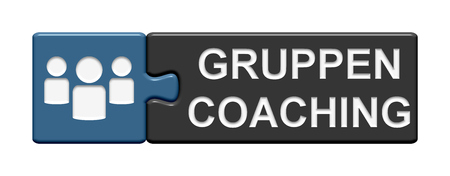 two pieces: Puzzle Button of two puzzle pieces with symbol showing team coaching in german language