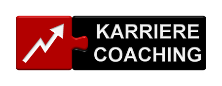 career coach: Puzzle Button of two puzzle pieces with symbol showing coach for your career in german language