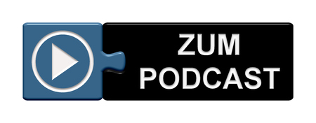 subscribe here: Puzzle Button of two puzzle pieces with symbol showing Podcast in german language