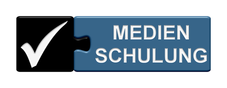 slang: Puzzle Button of two puzzle pieces with symbol showing media training in german language