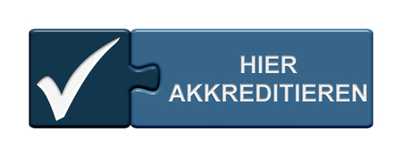 accreditation: Puzzle Button of two puzzle pieces with symbol showing accreditation here in german language