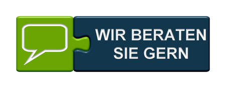 sales representative: Puzzle Button of two puzzle pieces with symbol showing we like to help you in german language Stock Photo