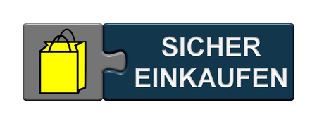 secure shopping: Puzzle Button of two puzzle pieces with symbol showing secure shopping in german language Stock Photo