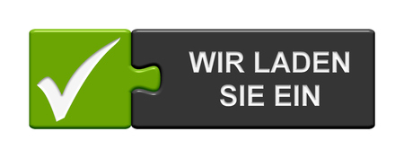 you are invited: Puzzle Button of two puzzle pieces with symbol showing Invitation in german language Stock Photo