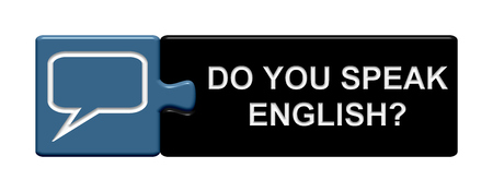 speak english: Puzzle Button of two puzzle pieces with symbol showing do you speak english Stock Photo