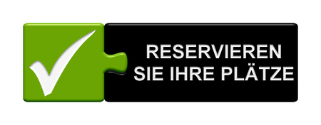 Puzzle Button of two puzzle pieces with symbol showing reserve your seats in german language Stock Photo