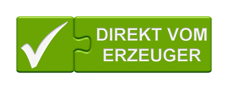 directly: Puzzle Button of two puzzle pieces with symbol showing directly from the producer in german language