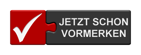 Puzzle Button of two puzzle pieces with symbol showing save the date in german language