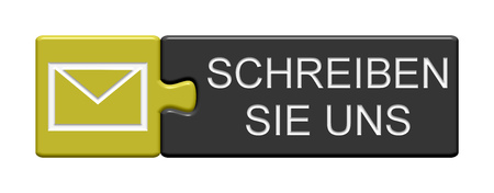 write us: Puzzle Button of two puzzle pieces with symbol showing write us in german language Stock Photo