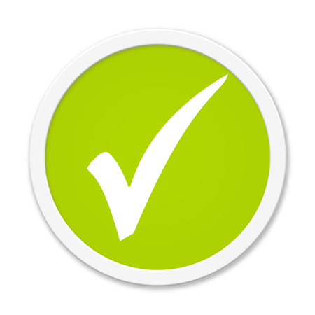 tick icon: Modern isolated green Button with symbol showing hook Stock Photo
