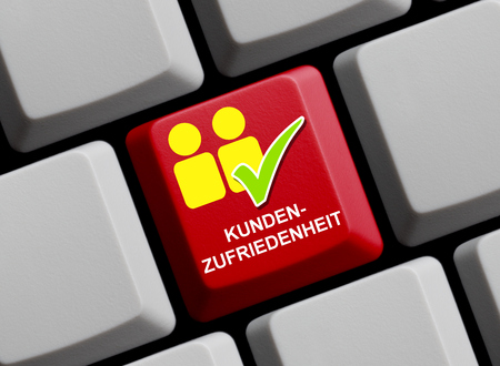 keyboard: Customer satisfaction online - symbols on computer keyboard