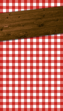 wooden beams: Checkered tablecloths pattern red white with wooden beams Stock Photo