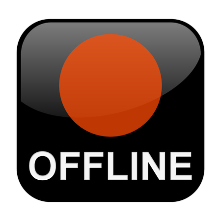 offline: Black isolated Button is showing offline