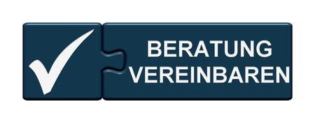 appointments: Puzzle Button with two pieces is showing counselling in german language Stock Photo