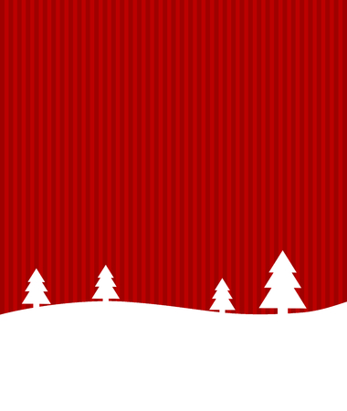 snowscape: Christmas card with winter landscape and Copy Space red