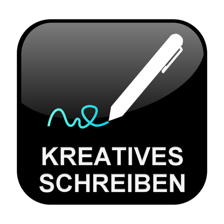 creative writing: Black isolated Button is showing creative writing in german language