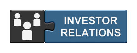 investor: Puzzle Button with two pieces is showing investor relations Stock Photo
