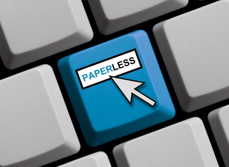 paperless: Computer Keyboard with mouse arrow is showing Paperless Stock Photo