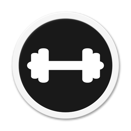 round: Round button showing barbell Stock Photo