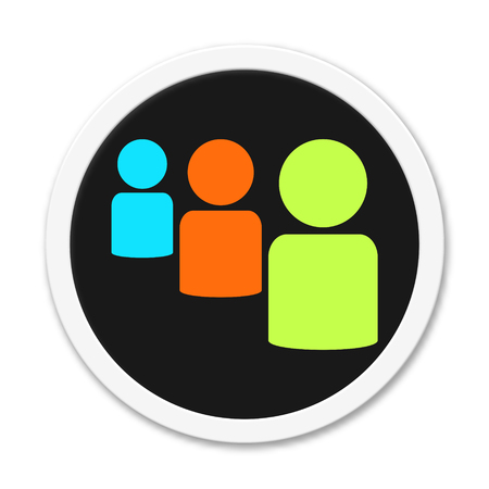 3 people: Button group of 3 people Stock Photo