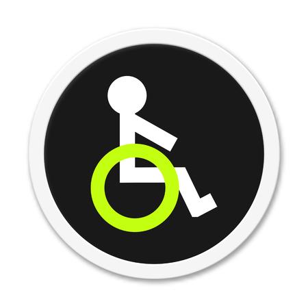 humane: Button black round wheelchair symbol