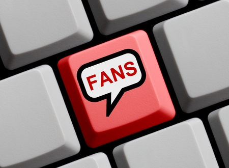the fans: Red Computer Keyboard with speech bubble showing Fans Stock Photo