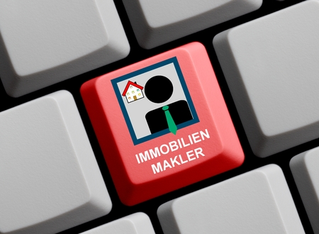 letting: Red Computer Keyboard with Symbol of Business Man is showing Realtor in german language Stock Photo