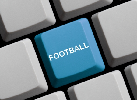 live stream tv: Blue Computer Keyboard is showing Football