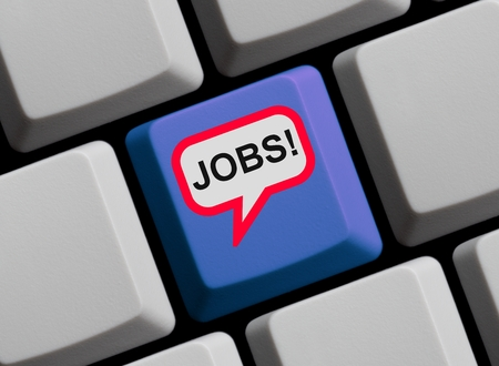 the applicant: Blue Computer Keyboard with red speech bubble showing Jobs