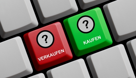 buying questions: Computer Keyboard red an green showing sell or buy in german language
