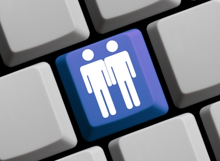 mariage: Blue Computer keyboard showing symbol of two men