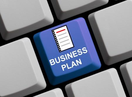 businessplan: Blue Computer keyboard showing symbol of Businessplan Stock Photo